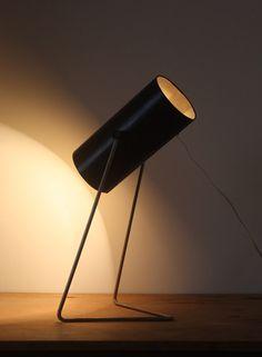 John Brown; Chromed and Enameled Metal Table Lamp for Plus Lighting, c1966.