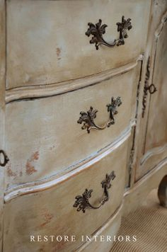 Combine chalk paint colors: pure white, louise blue and country gray Annie Sloan Chalk Paints from Restore Interiors