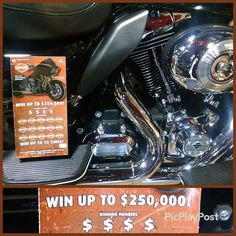 Win 1 of 10 #HarleyDavidson #Motorcycles or up to $250,000! It is super easy just call us or message us to set us a #DemoRide on one of our #NEWMotorcycles and you will get a #ScratchOff!  #MountainCreek