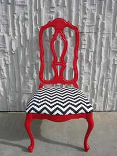 Other Sister Design & Restoration Red Chair with chevron fabric. I want this. $120