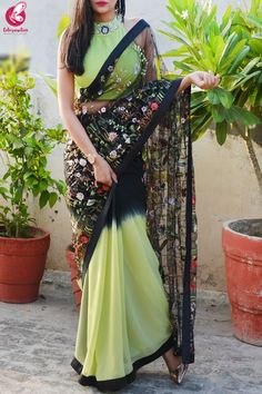 Buy Lime Green & Black Double Shaded Georgette Net Satin Taping Saree by Colorauction - Online shopping for Sarees in India Silk Saree Blouse Designs, Fancy Blouse Designs, Dress Neck Designs, Trendy Sarees, Stylish Sarees, Saree Designs Party Wear, Fancy Sarees Party Wear, Party Wear Sarees Online, Sarees For Girls