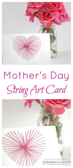 DIY Mother's Day String Art Card Craft Gift Idea