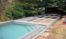 how to cover your pool with a deck on wheels Shipping Container Swimming Pool, Hidden Pool, Pool Enclosures, Rectangular Pool, Backyard Sheds, Plunge Pool, Swimming Pools Backyard, Dream Pools, Home Landscaping