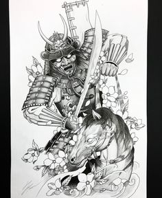 Samurai and horse tattoo design for a client. Hannya Mask Tattoo, Hanya Tattoo, Yakuza Tattoo, Japanese Tattoo Art, Japanese Tattoo Designs, Japanese Sleeve Tattoos, Samurai Warrior Tattoo, Warrior Tattoos, Horse Tattoos