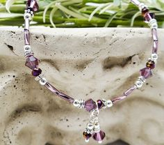 Anklet Ankle Bracelet Purple Anklet Double Dangle Anklet