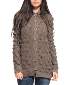 Loving this Brown Knit Hooded Cardigan on #zulily! #zulilyfinds