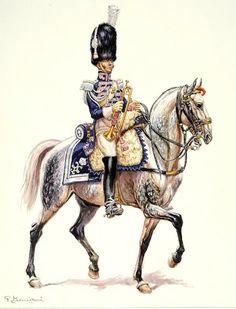 Aquarelle de Pierre Benigni Trompette (grande tenue) du 1er Régiment de Grenadiers à cheval de la Garde Royale (1816).
