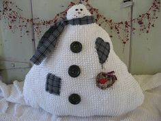 Stuffed Snowman White Vintage Knobby Chenille by chickenhearts for $29.00 each