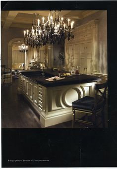 nice kitchen interior w/ black crystal chandeliers