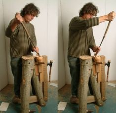 """I use this bench for making all sorts of things, but mainly fanbirds and Kuksa`s at the moment. The holes in the top are for inserting pegs to hang all sorts of tools from, these have been taken off as I am making a kuksa, a cup, and I need all round easy access. When demonstrating outside I peg the bench to the ground with wooden tent pegs, when working inside I put a foot on one of the two pegs at the bottom of the legs to keep the whole bench stable."""