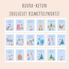 Kuura-ketun jouluiset riimittelykortit Kindergarten Crafts, Teaching Kindergarten, Teaching Kids, Christmas Calendar, Christmas Crafts, Xmas, Finnish Language, Early Childhood Education, Pre School