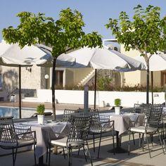 """Indulge in fine Greek and Mediterranean cuisine"" Atrium Hotel Skiathos, Fine Dining, Natural Stones, Greek, Patio, Outdoor Decor, Design, Home Decor, Kitchens"