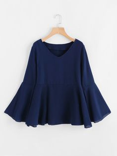 Shop V Neckline Fluted Sleeve Frill Hem Blouse online. SheIn offers V Neckline Fluted Sleeve Frill Hem Blouse & more to fit your fashionable needs. Teen Fashion Outfits, Modest Fashion, Girl Fashion, Girl Outfits, Fashion Dresses, Muslim Fashion, Hijab Fashion, Casual Dresses, Casual Outfits