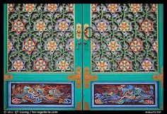 Intricate door decor, Haeinsa Temple, South Korea by QT Luong