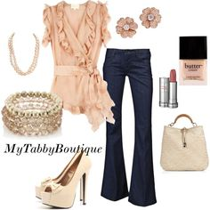 Peach Ruffles with Jeans