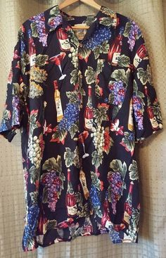 Mens Island Collection Button Front Short Sleeve Hawaiian Shirt L Wine Cocktail  #IslandCollection #ButtonFront