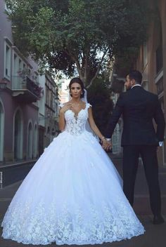 LORIE Princess Wedding Dress Ball Gowns Double Shoulder Appliqued Lace V Neck Dubai Wedding Bridal Dress Vestido de noiva – fashion Wedding Dress Cinderella, Princess Wedding Dresses, Dream Wedding Dresses, Bridal Dresses, Wedding Gowns, Tulle Wedding, Dubai Wedding, 2017 Wedding, Arab Wedding
