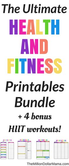 Health and Fitness Printables! This printables pack is awesome - it's what helped me stay on track and achieve my weight loss goals. Plus it includes 4 bonus HIIT workouts! #Printable #healthyliving #healthylivingtips