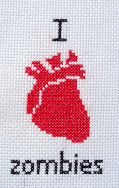 I anatomically heart zombies. For the record zombies terrify me. Hand Embroidery Patterns, Embroidery Thread, Cross Stitch Embroidery, Cross Stitch Designs, Cross Stitch Patterns, Cross Stitch Quotes, Cross Stitching, Pixel Art, Needlepoint