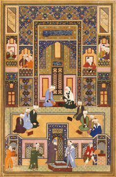 Gulistan Sa'adi | طبع تورا تا هوس نحو کرد  صورت عقل از دل ما محو کرد ای دل عشاق به دام تو صید ما به تو مشغول و تو با عمرو و زید سعدی، گلستان، باب پنجم در عشق و جوانی، عبد الله مصور۱۵۴۰-۱۵۵۰ میلادی، بخارا، ۲۸۸.۸ در ۱۹۰.۵ سانتیمتر، آبرنگ، گواش و طلا بر روی کاغذ، نلسون-اتکینز موزه هنر Gulistan Sa'adi Shiraz  The Meeting of the Theologians Abd Allah Musawwir1540-1550 C.E. Title: The Meeting of the Theologians Creator: Abd Allah Musawwir Date Created: 1540-1550 C.E. Pla...