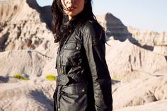 Musician Melaena Cadiz in her Belstaff Roadmaster, photographed by husband Mikael Kennedy.