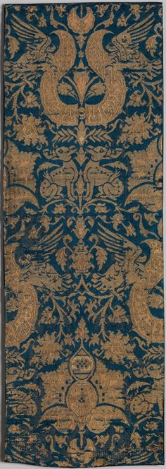 Satin and plain weave brocade panel with silk and metal threads,Spanish or Near Eastern, 14th-15th c.
