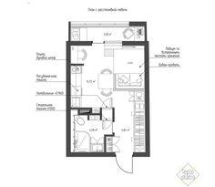 Компактный дизайн квартиры-студии 24 кв. м. в скандинавском стиле