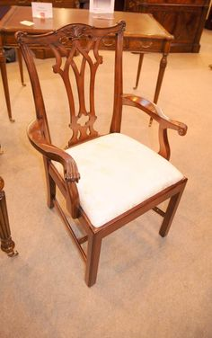 - Stunning set of 8 Chippendale style dining chairs in mahogany - Set consists of 2 arm chairs and 6 side chairs - Really solid and sturdy, very comfortable to sit in - Hand carved backsplat has some lovely details - We have various tables to match so please email us if you are looking for a complete set - Offered in great shape ready for home use right away with no signs of damage - Will ship to anywhere in the world, please contact for a shipping quote Arm Chairs, Dining Chairs, Dining Room, Contemporary Furniture, Furniture Making, Repurposed, Art Nouveau, Hand Carved, Upholstery