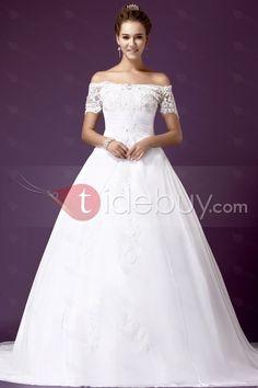 Aライン/プリンセスオフショルダーチャペルトレインウェディングドレス