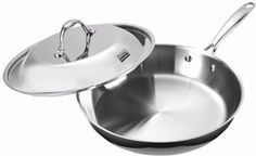 Aluminum Kitchen Fry Pan with Dome Lid Multi-Ply Clad Stainless Steel 12 Inch  #KitchenFryPan #Kitchen #FryPan #Aluminum #AluminumFryPan #StainlessSteel #Stainless #Steel #12inch #DomeLid #Multi-PlyClad