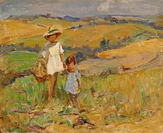 : Walking with big sister, Berkshire by Dorothea Sharp from Haynes Fine Art of Broadway