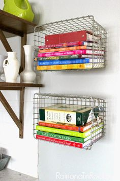 instant shelf idea: use wire baskets and hang as shelves.