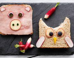 Madpakke med sjove og sunde dyremader, som gør frokosten lidt mere spiselig.