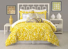 yellow bedding for teens | Trina Turk Yellow Ikat Duvet Set