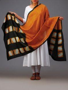 Green-Orange Geometric Clamp Dye Chanderi Dupatta