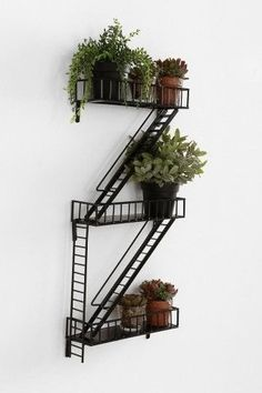 Fire escape plant holder