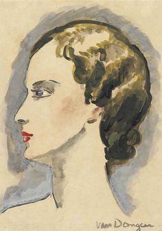 By Kees van Dongen (1877-1968), Tête de femme de profil, gouache, watercolour and brush and India ink on paper.