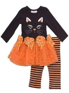 beautiful helloween outfit, top and leggings. Beautiful? Find more infomation on http://www.ebay.co.uk/itm/Rare-Edtions-baby-Girls-Black-Orange-Cat-Tutu-Outfit-12m-24m-/120951416968?pt=UK_Baby_Girls==item61cf0666eb