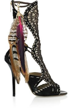 JIMMY CHOO Kevan woven leather and suede sandals IDEA!: make feather fasteners for boots and ankle booties! Zapatos Shoes, Shoes Heels, Louboutin Shoes, Crazy Shoes, Me Too Shoes, Shoe Boots, Ankle Boots, Designer Heels, Cheap Designer