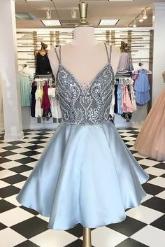 Straps Short Silver Beads Backless V-Neck A-Line Tulle Homecoming Dresses PM167