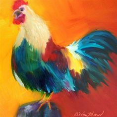 """""""Rooster Call"""" - Original Fine Art for Sale - © Donna Weathers"""
