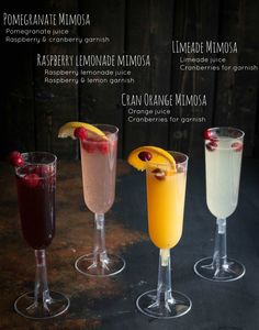 How to make a mimosa bar, different kinds of mimosas, brunch cocktails, brunch… Party Drinks, Cocktail Drinks, Fun Drinks, Yummy Drinks, Cocktail Recipes, Brunch Recipes, Beverages, Bar Recipes, Fall Drinks Alcohol