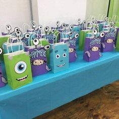Monsters Inc Birthday Party Ideas/ Monsters Inc party favor bags/ goodie bags/ goody bags/ Monsters Inc gift bags/ treat bags/ DIY Monsters Inc party decorations/ ideas/ Monsters Inc printables/ Monsters Inc birthday cake/ banner Monster University Birthday, Monster 1st Birthdays, Monster Birthday Parties, First Birthday Parties, Birthday Party Themes, First Birthdays, Birthday Cake, Birthday Ideas, Birthday Diy