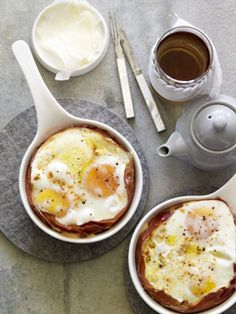 Australian Gourmet Traveller breakfast recipe for jamón and Manchego baked eggs. Breakfast Desayunos, Breakfast Recipes, Yummy Food, Tasty, Baked Eggs, Foodies, Food Photography, The Best, Food Porn