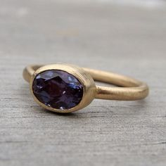 Wedding Band & Engagement Ring Set - Color-Change Alexandrite and Recycled 14k Gold Rings. From McfarlandDesigns $2168