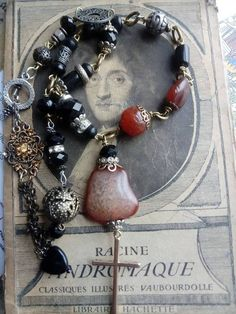 Gothic style reconstructed crucifix and gemstone necklace, Victorian inspired mourning, carnelian, French jet beads, vampire statement, Gemstone Necklace, Pendant Necklace, Crucifix, Carnelian, Gothic Fashion, Jet, Victorian, French, Gemstones