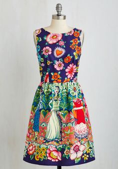 Frida Your Mind Dress. Indulge your imagination with this fancifully printed dress! #multi #modcloth