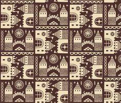 folktale castle fabric by oleynikka on Spoonflower - custom fabric