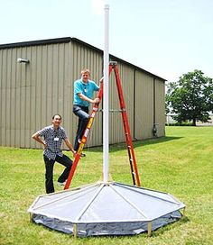 Summer engineering interns working on a solar chimney project at the Global Technology Center in Indiana