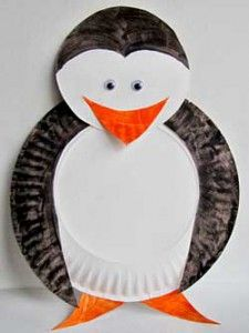 Penguin paper plate craft for kids!